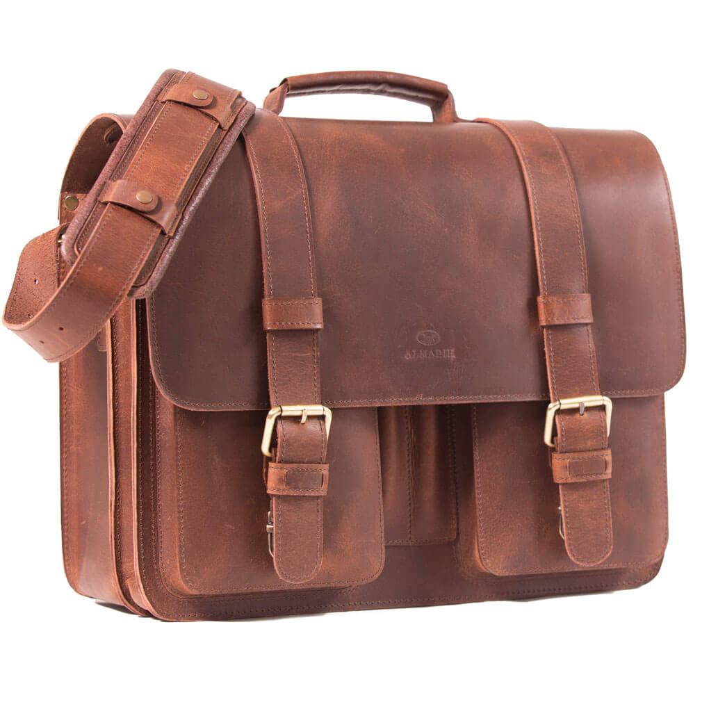 ROY ALMADIH Leder Aktentasche Braun Vintage
