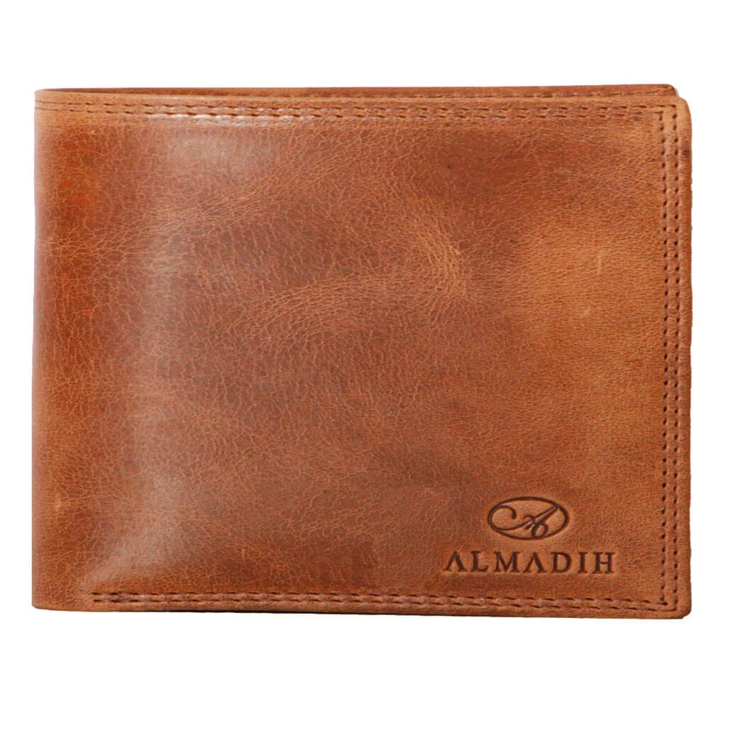 P0Q ALMADIH Leder Slim Geldbeutel cognac mit RFID