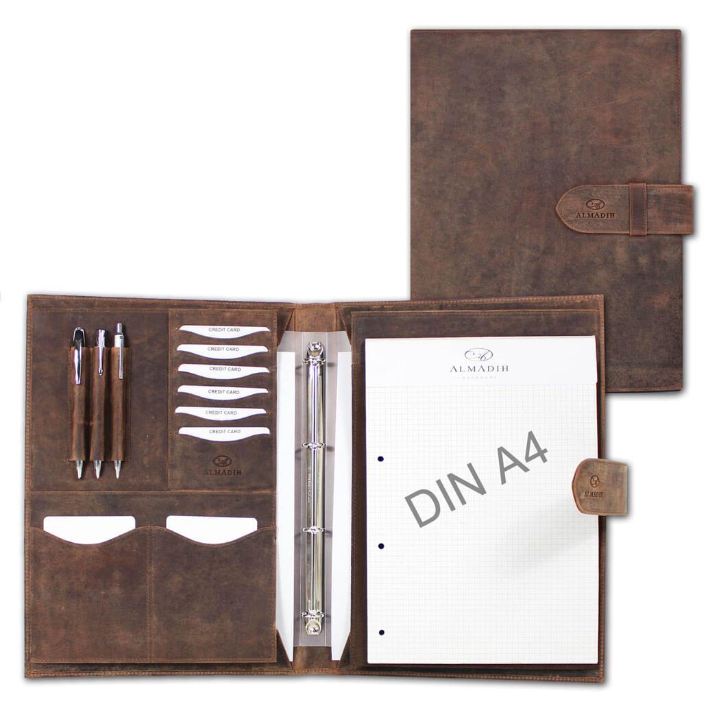 ALMADIH Leder A4 Konferenzmappe Braun Vintage
