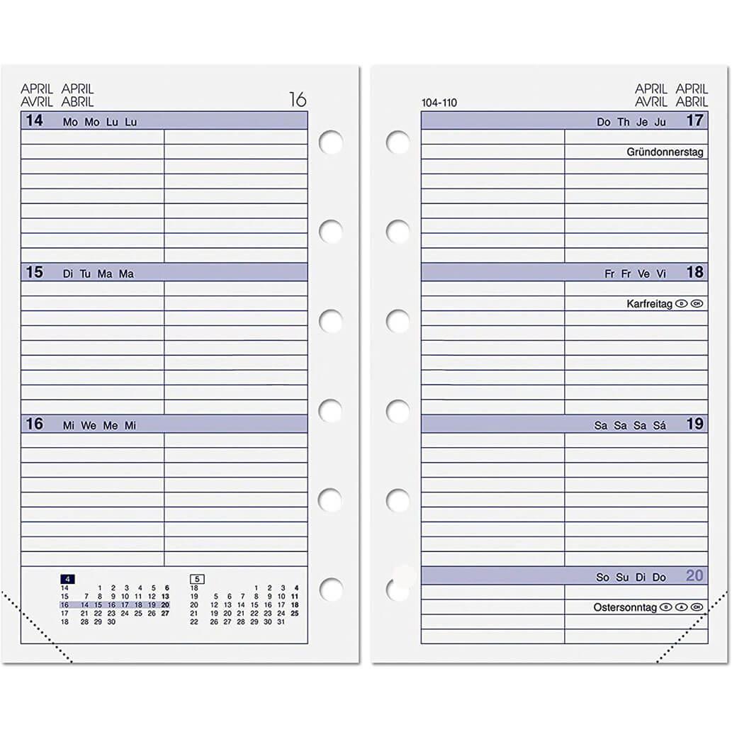 ALMADIH Kalendereinlage A7 für 2022 - 1 Woche auf 2 Seiten