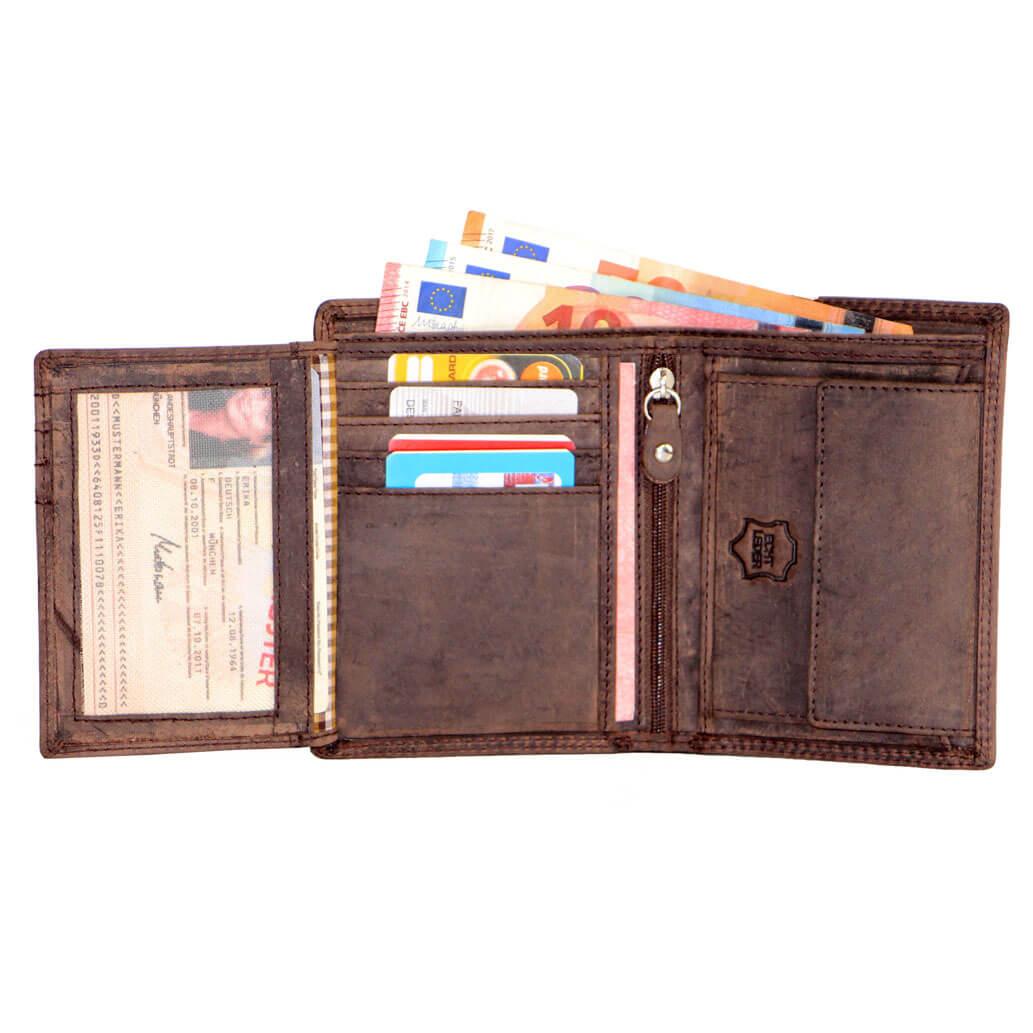 P1H ALMADIH Leder Portemonnaie Braun Vintage