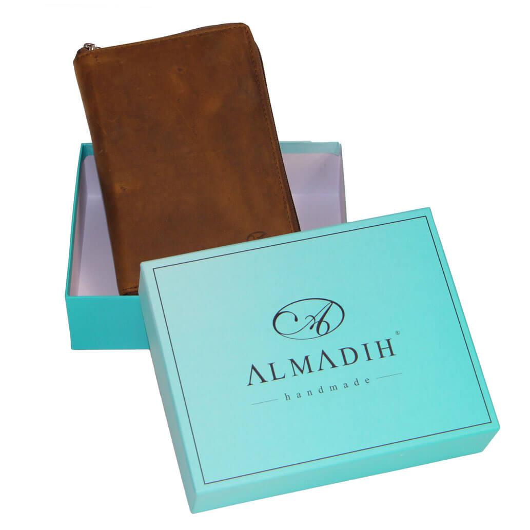 ALMADIH Leder A7 Kombimappe 2022 mit 2 Reißverschlussfächern Braun Vintage