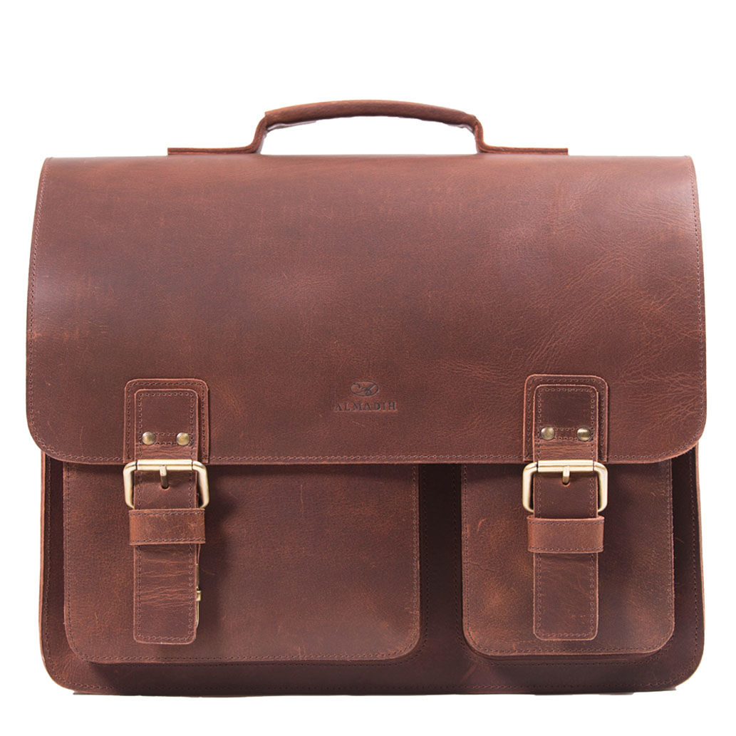 SAM ALMADIH Leder XL-Aktentasche Braun Vintage