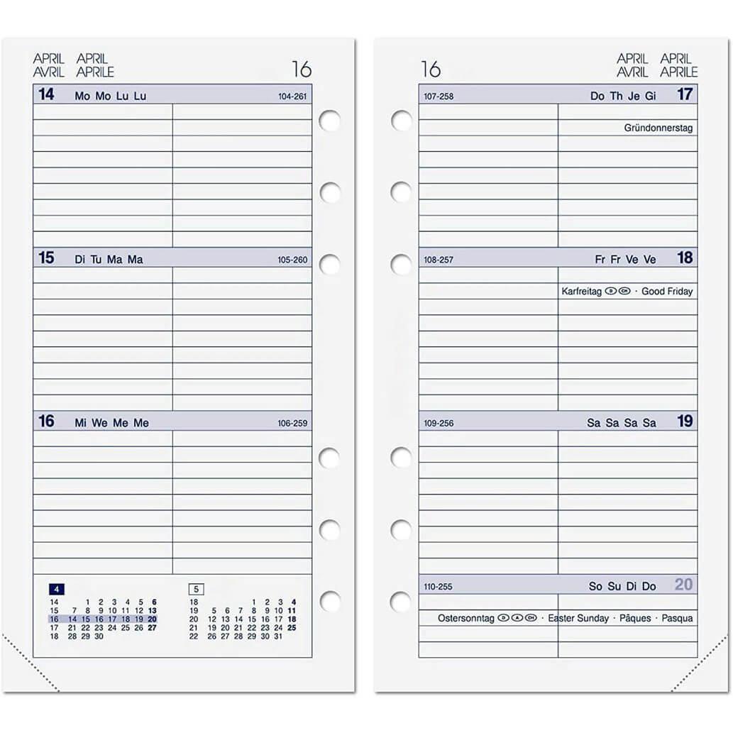 ALMADIH Kalendereinlage A6 für 2022 - 1 Woche auf 2 Seiten