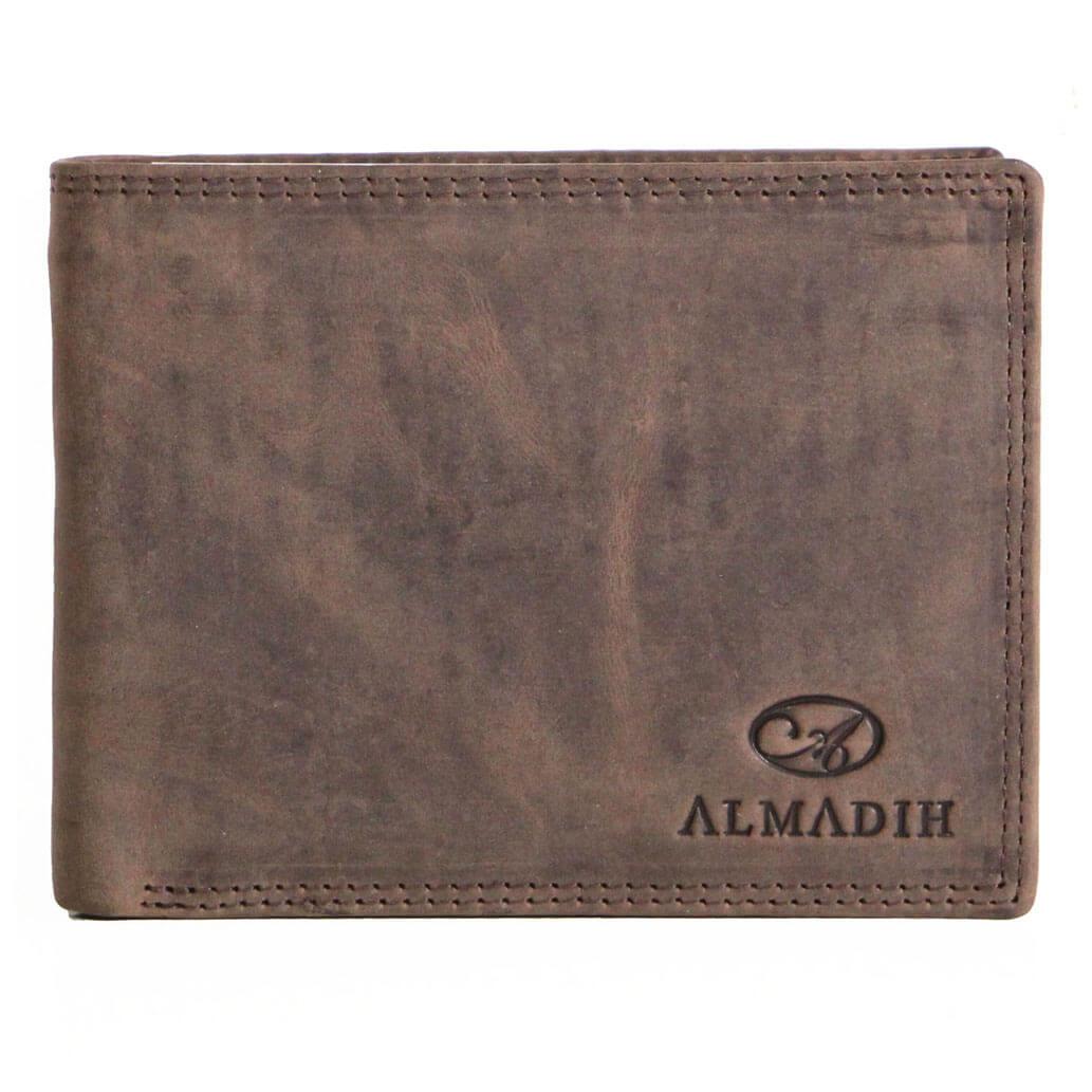 P0Q ALMADIH Leder Slim Brieftasche Braun Vintage