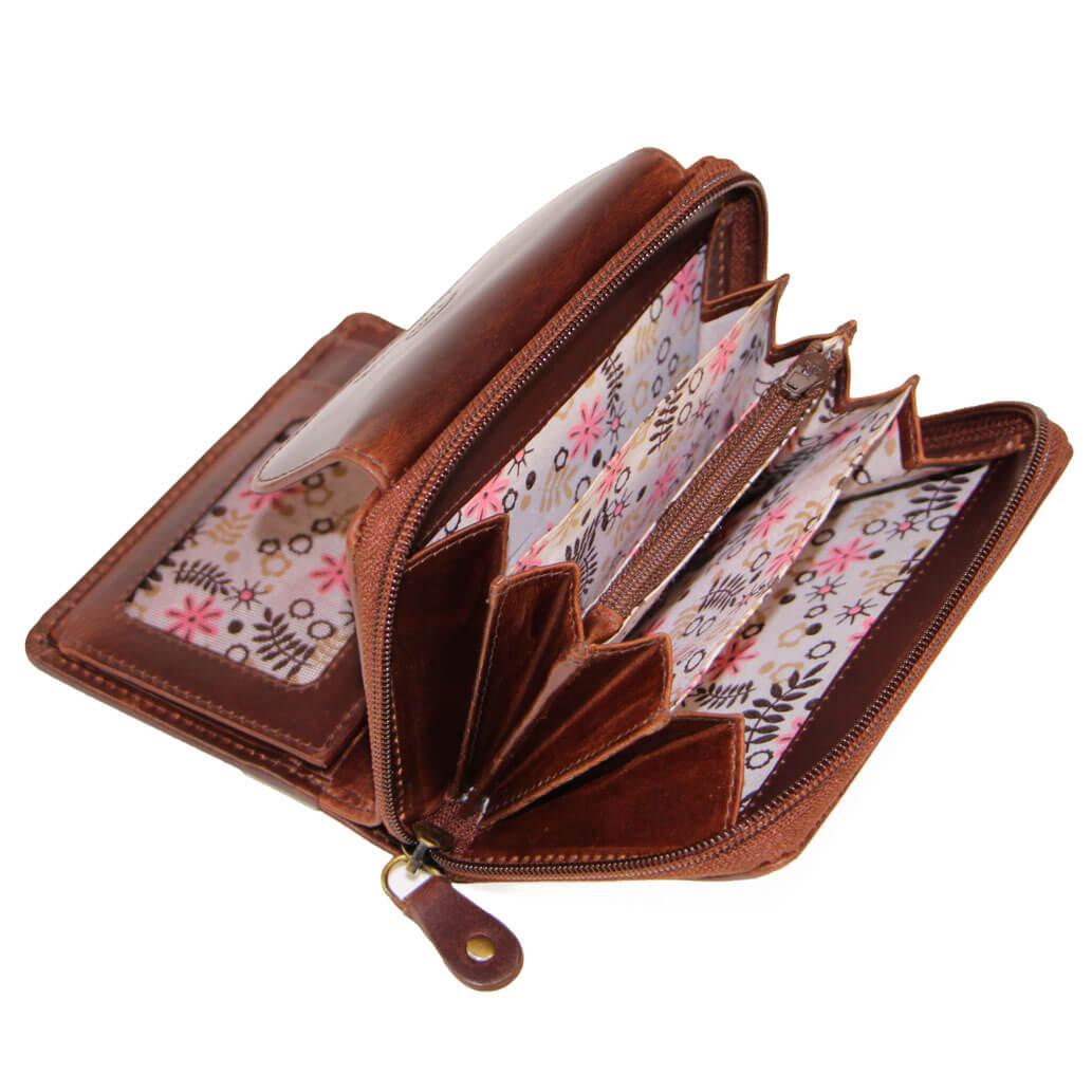 CARLY Leder Damen Portmonee Börse mit RFID Braun Elegance