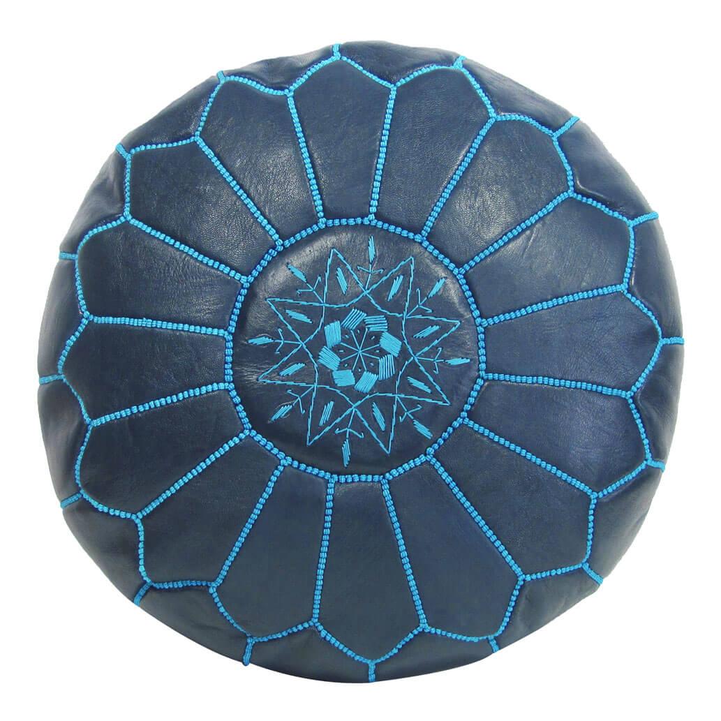 Leder-Sitzkissen Blau ALMADIH Pouf