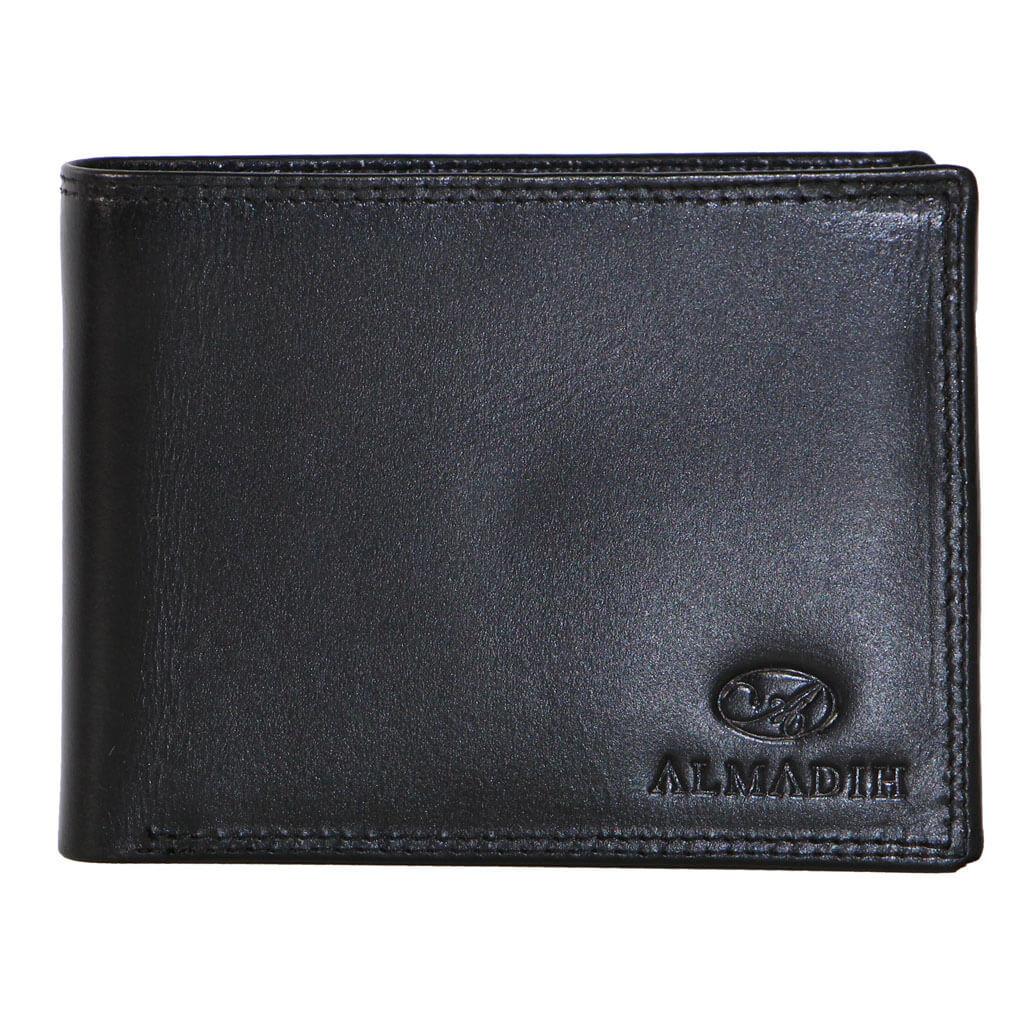P0Q ALMADIH Leder Slim Portemonnaie Schwarz