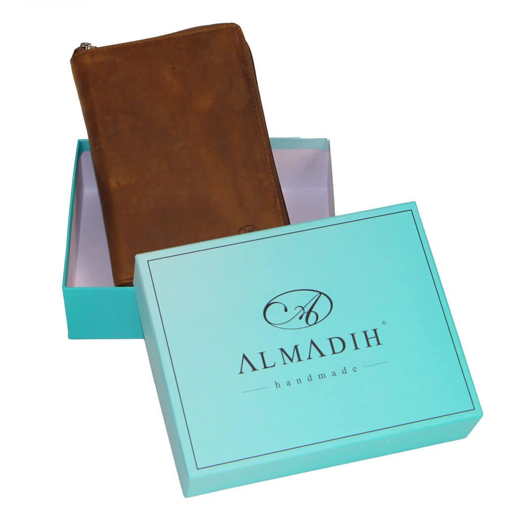 ALMADIH Leder A6 Kombimappe 2022 mit 2 Reißverschlussfächern Braun Vintage