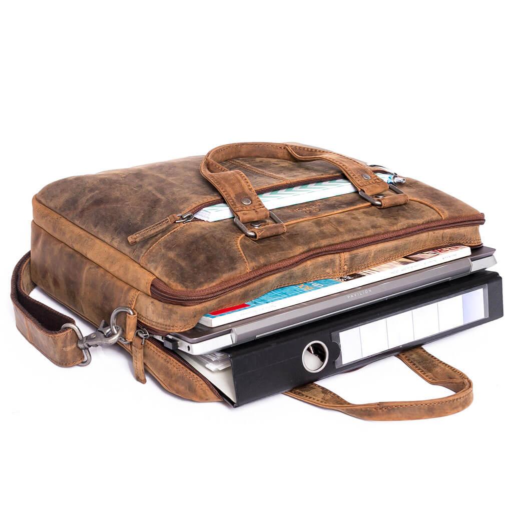 LUCA ALMADIH Leder Laptoptasche Braun Vintage