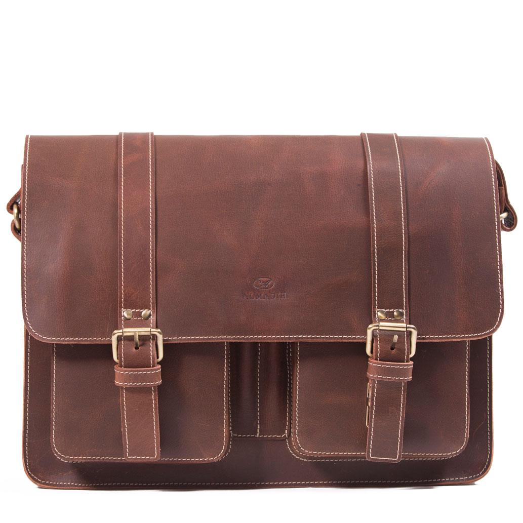 TOM ALMADIH Leder Messenger Braun Vintage