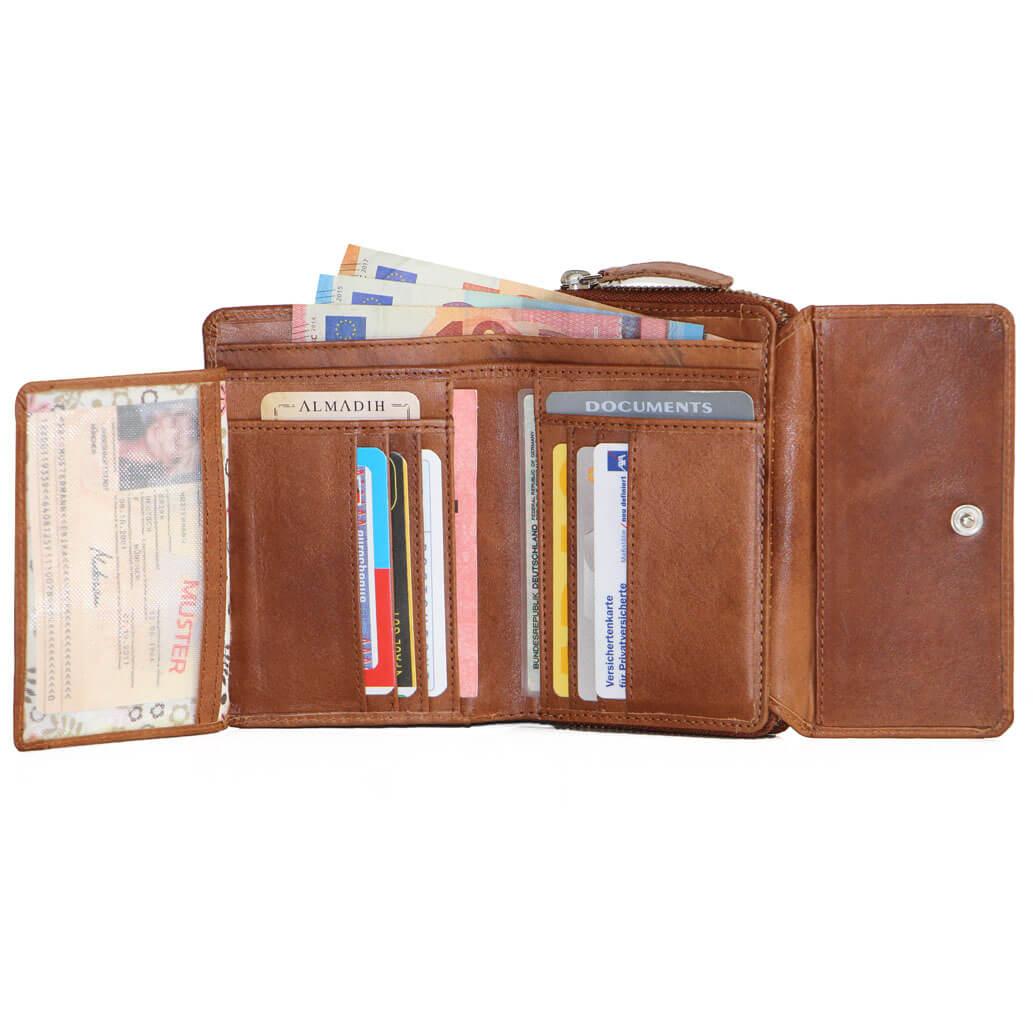 EVE ALMADIH Leder Damen Brieftasche Börse Braun Deluxe